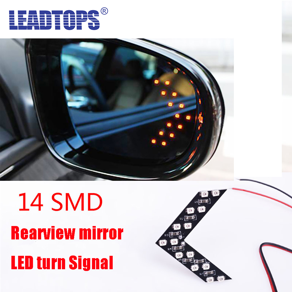 LEADTOPS New 2Pcs 14 SMD LED Arrow Panel For Car Rear View Mirror Indicator Turn Signal Light FOR Audi bmw e39/bmw e46/ford DH car styling 2017 2pcs 14smd arrow panel led rear view mirror indicator turn signal light for volkswagen touareg car styling