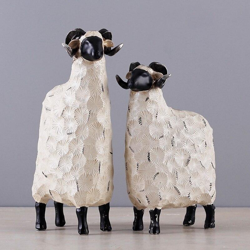 Креативные милые белые овцы ремесло аксессуары для дома Гостиная Декоративные декоративные изделия из смолы свадебный подарок семья Рожде