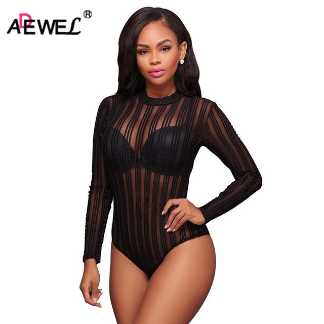 9e23b1f504968 ADEWEL Sexy See Through Vertical Stripe Mesh Bodysuit Long Sleeve Bodycon Women  Bodysuit Vintage Lace Body Top Romper Overalls