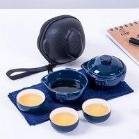 [1 demlik + 3 Bardak] Taşınabilir Çin Kung Fu çay seti Seramik Gaiwan çay fincanları Açık Seyahat çay seti Hızlı fincan hızlı Sonrası