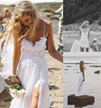 Stunning Vintage Boho White Beach Low Back Wedding Dresses Gowns Chiffon Dreamy Spaghtti Straps Slit Short Lace in Front
