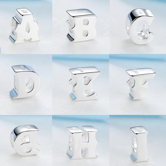 NBSAMENG 100% 925 Sterling Silver A-Z Alphabet Letters Charm Beads Fit Pandora Women Charms Beads For DIY Bracelets Bangles
