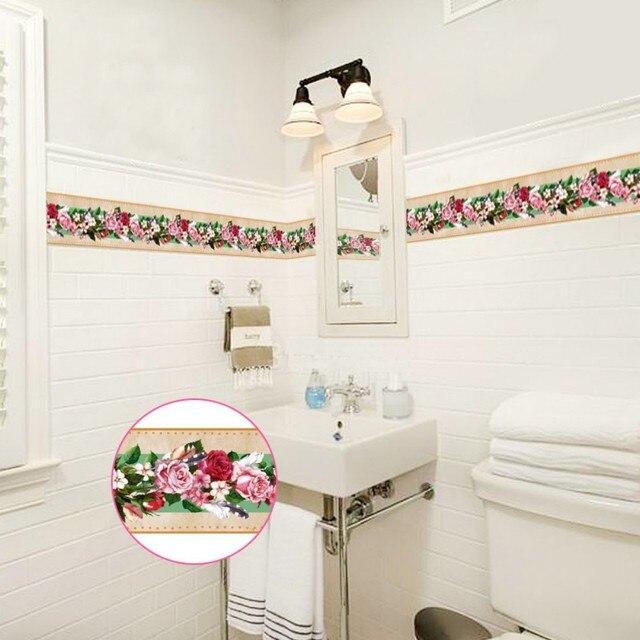 Creative Self Adhesive Wallpaper Baseboard Livingroom Bathroom Retro Rose Flower Cer Fl Pattern Waistline Wall Stickers