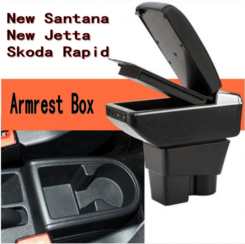 For VW Santana Jetta Rapid armrest box central Store content Storage box with cup holder ashtray