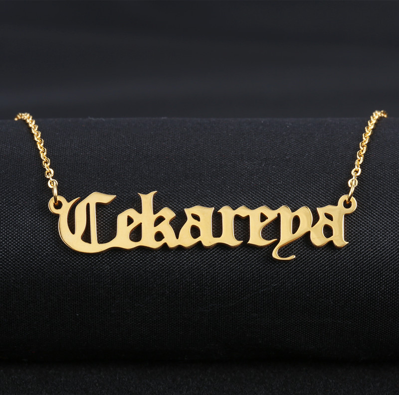 choker necklace old english gold color stainless steel nameplate necklace romantic gift personalised name pure color velvet six pieces thin choker necklace