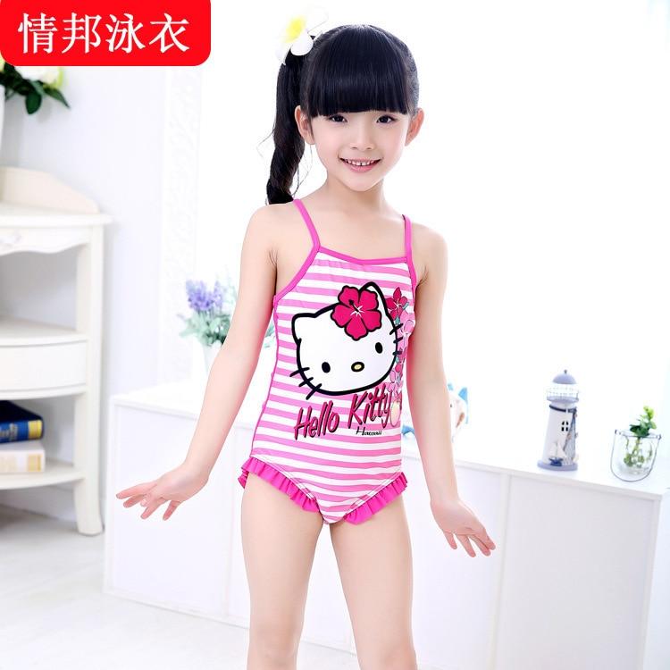 Children swimwear girls swimming wear 2015 The Cute KT cat ...