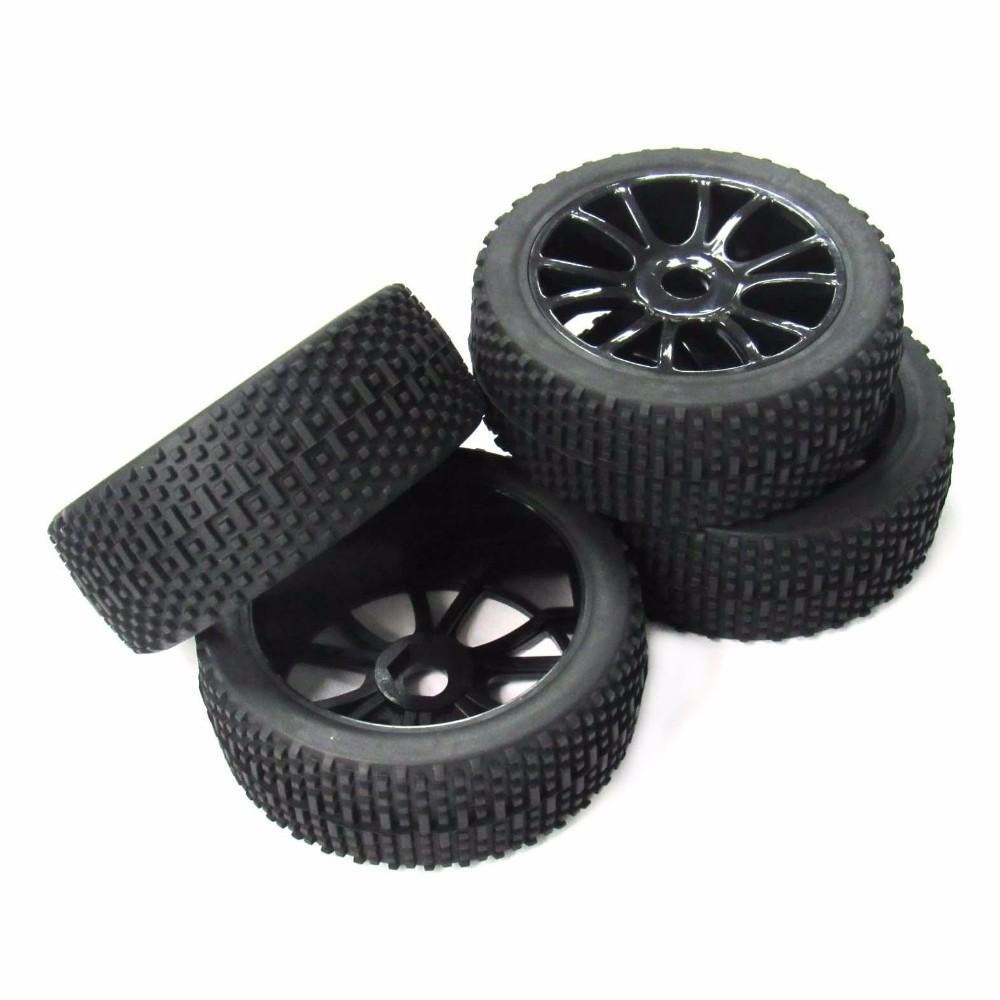 4PCS Wheel Rim & Tires Set for 1/8 RC Short-Course Truck Traxxas Slash HPI RC Model Car Square nail type for RC car Part 4pcs set rc parts 12mm hex bead loc short course ruber tire rims for hpi hsp rc 1 10 traxxas slash