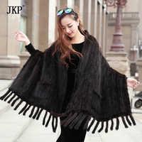 Genuine Real Knitted Mink Fur Scarves with Tassels Scarf Wraps Mink Fur Shawls
