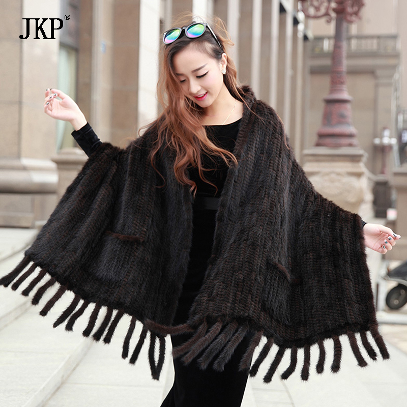 Genuine Real Knitted Mink Fur   Scarves   with Tassels   Scarf     Wraps   Mink Fur Shawls