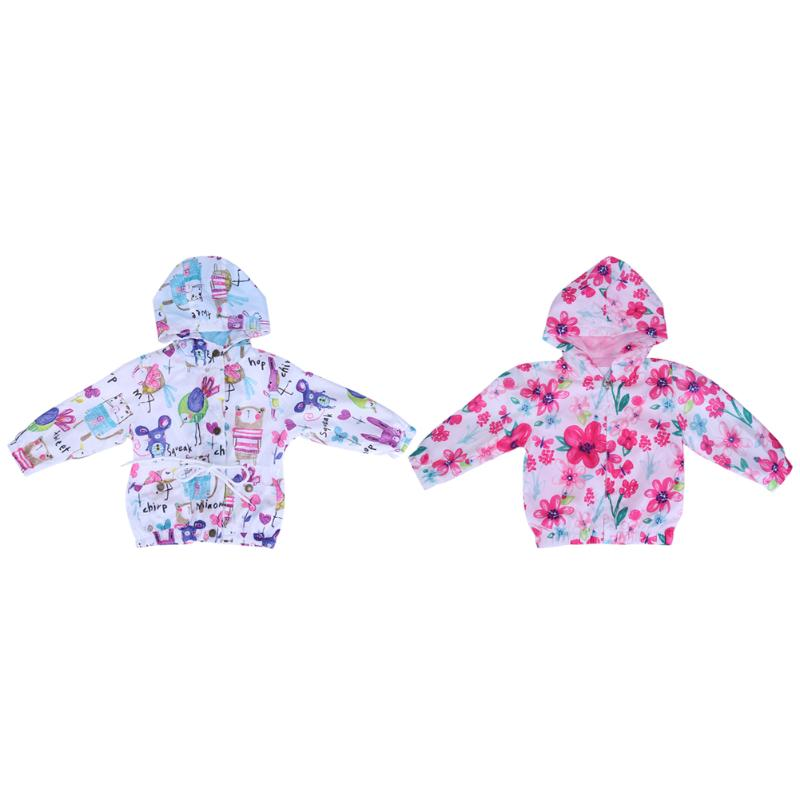 Girls Hooded Windproof Coat Cartoon Patterns ZipperThin Jacket Long Sleeve Outerwear Hooded Cloth For 1-6 Years Kids