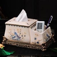European Ornament luxury home paper box creative ceramics American garden multifunctional towel box remote control Ornament