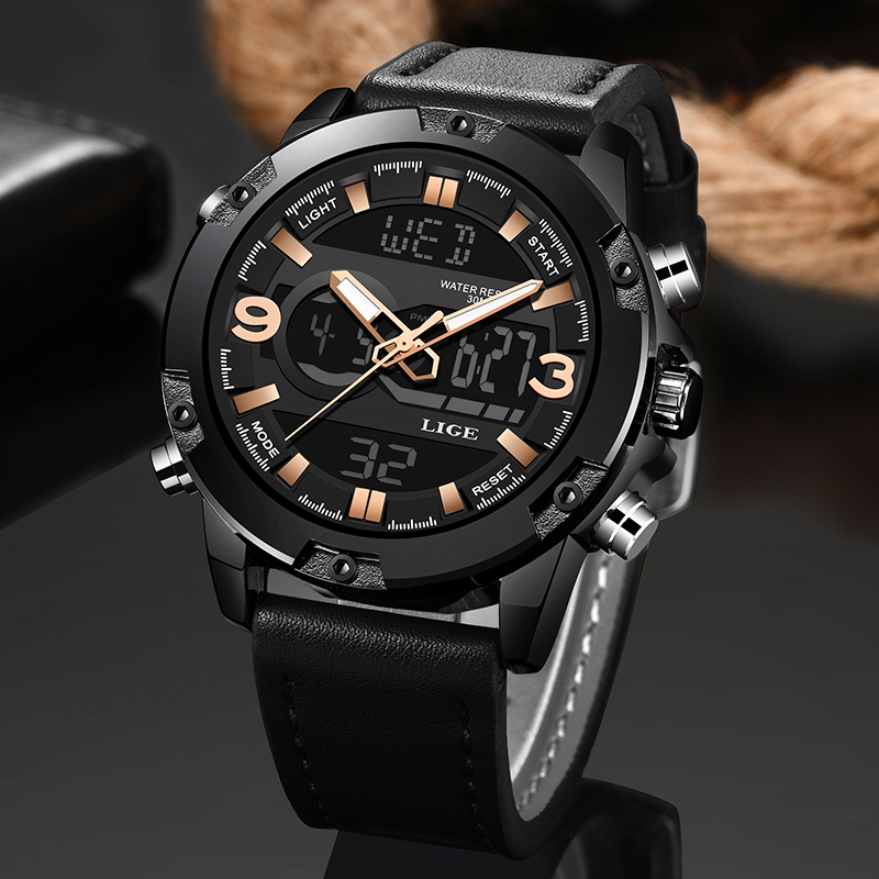2020 LIGE New Business Mens Watches Top Luxury Brand Sports Men Watch Dual Display Leather Waterproof Watches Relogio Masculino