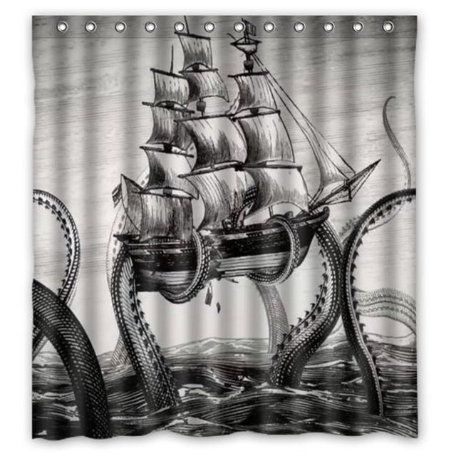 NANAZ Generic Sailing Octopus on the Sea Black and White Vintage ...