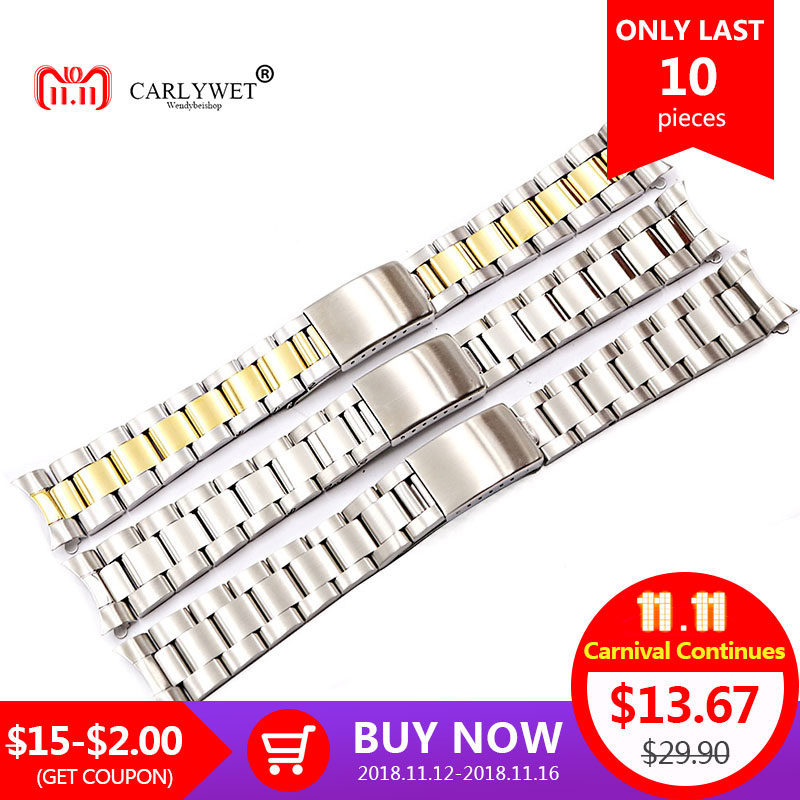 CARLYWET 19 20mm 316L Stainless Steel Two Tone Gold Silver Watch Band Strap Old Style Oyster Bracelet Hollow Curved End carlywet 13 17 19 20mm wholesale 316l stainless steel two tone rose gold silver watch band strap oyster bracelet for dayjust