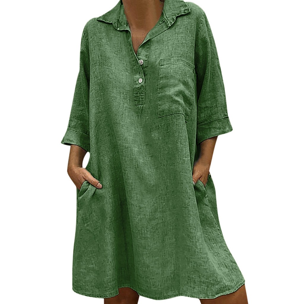Large Plus Size !!Best Sale 2019 Women's Solid Boho Turn-down Collar Dress 3/4 Sleeve Casual Pocket Button Dress Vestido @6