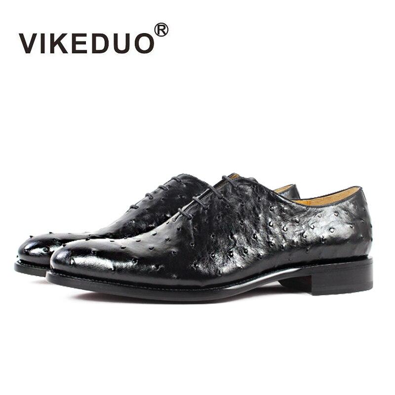 Vikeduo 2018 Hot Handmade Brand Designer Black Luxury Fashion Party Wedding Ostrich Male Dress Genuine Leather Men Oxford Shoes