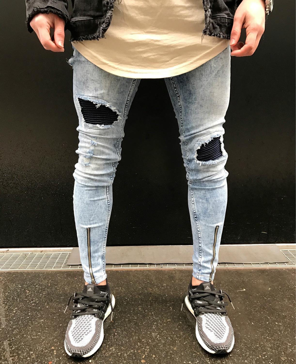 2018 Dropshipping Sky blue Jeans Men Rockstar Ankle Zipper Big Hole Punk Classic Destroyed Skinny Ripped Jeans for Men Pants