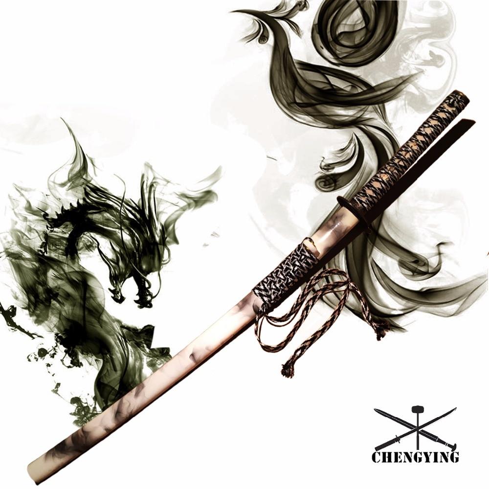 Japanese Sword Katana 1060 Steel Blade Smog Theme Saya Samurai Style Tsuba