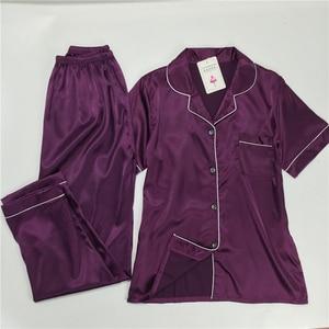 Image 2 - パジャマ女性の大サイズ M 5XL シルクパジャマポケットホーム服固体パジャマ女性のためのパジャマファムホームスーツスパースター mujer