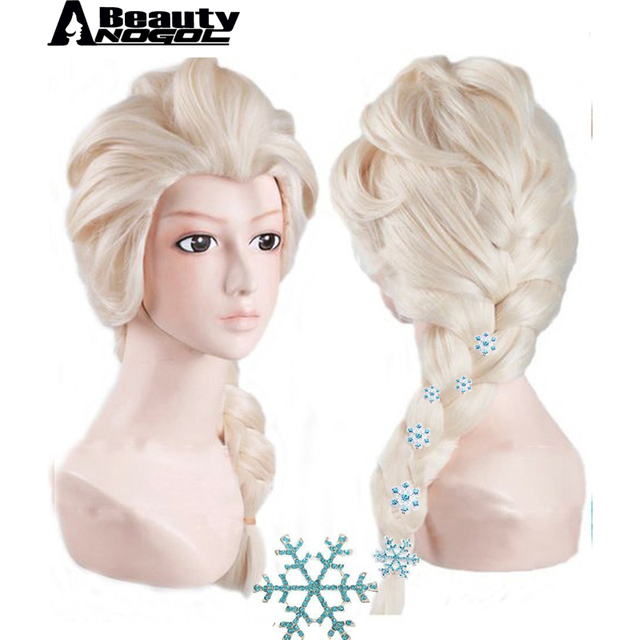 ANOGOL BEAUTY  6 Snowflake Hairpins+Hair Cap+ Platinum Blonde Braids Elsa Princess Cosplay Synthetic Wig For Kids With Hairpins