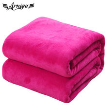 King size plaids 220x240cm 12 different colors sofa air bedding thin Throw solid color travel Flannel