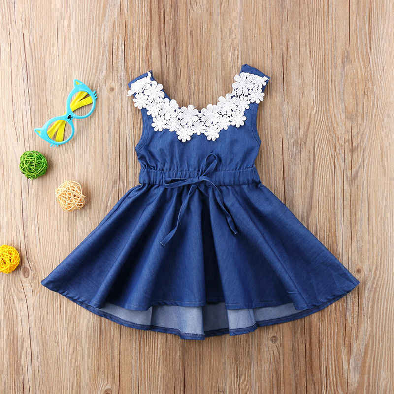 4b48e9c69c3b ... 2018 new sweet summer Adorable Toddler Kids Baby Girls Lace Floral  Denim Princess Party Dress Sundress ...