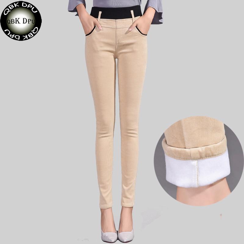 Эластичные вельветовые узкие брюки с высокой талией для женщин, Элегантные зимние теплые плотные обтягивающие брюки, облегающие Женские леггинсы для фитнеса Брюки       АлиЭкспресс