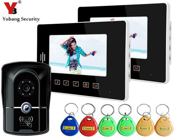Yobang Security 7 inch RFID Night Vision Camera Touch Key Doorphone System LCD Door Monitor Video Door Phone Doorbell Camera 7 inch tft touch screen lcd color video door phone doorbell wall mounted intercom system night vision eye camera doorphone