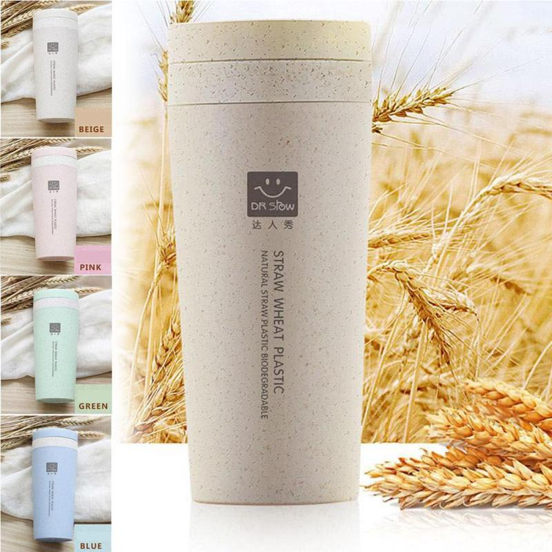 1pc Portable Wheat straw bottle double-layer Vacuum bottles drinkware Student Gift bottle Home kitchen Accessories A35