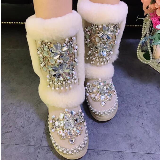 Exquisito Mano Invierno Borla Estilo Cuero Importados Forro Nuevo Interior Lana Mujer Snow Lentejuelas Beige Hecho Cuentas De Botas Marca Con A nSP0Y