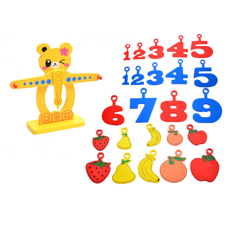 Baby Balance Scales Toy Numbers Fruits Intelligence Bear Emoji Kids Puzzle Children Early Educational Wooden Toys