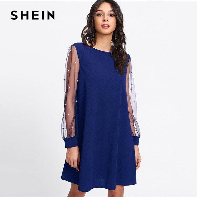 05af2c1149 SHEIN Blue Party Streetwear Minimalist Modern Lady Pearl Beading Mesh Sleeve  Boat Neck Tunic Dress Autumn