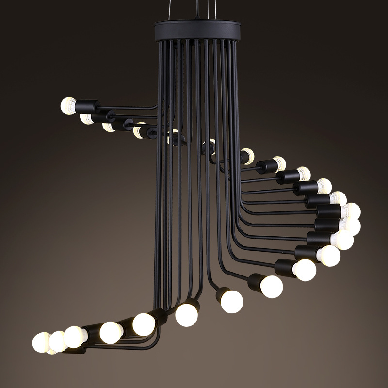 Nordic retro wrought iron industrial Chandelier modern art stairs spiral shape pendant lamps for Cafe bar restaurant living room vintage iron pendant light industrial minimalist creative bar cafe restaurant living room wrought iron loft retro lamps 220v