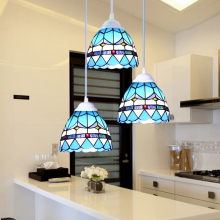 mediterranean sea retro American country tiffany pendant light stained glass living room dining room bar hanging lighting lamp