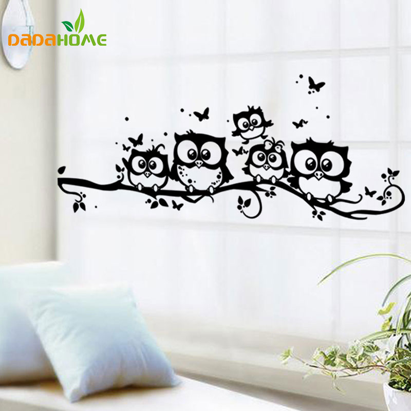 buy creative cartoon black owl wall sticker pegatinas de pared vinyl. Black Bedroom Furniture Sets. Home Design Ideas