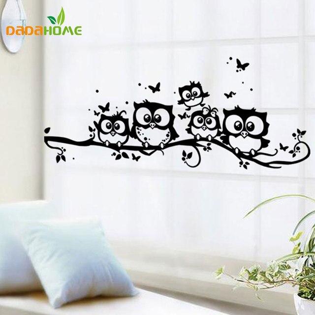 Creative cartoon black owl wall sticker pegatinas de pared for Stickers decorativos pared