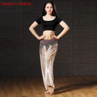 2018Women Modal Cotton Costume Belly Dance 2 Piece Set Practice Performance Clothes short Sleeve Top Long pants Free Shipping