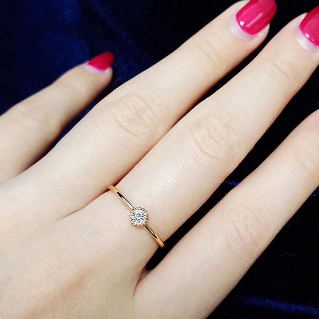 18K Gold Pure Gold Ring Real 18K Gold Solid Gold Rings  Beautiful Upscale Trendy Classic Party Fine Jewelry Hot Sell New 2020 5