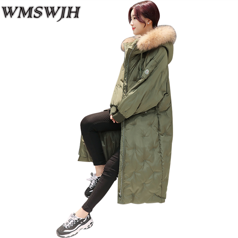 Thick Warm Women Cotton Coat 2017 New Leisure Loose Winter Long Outerwear Big Size fur collar Fashion Straight Female Parka women winter coat leisure big yards hooded fur collar jacket thick warm cotton parkas new style female students overcoat ok238