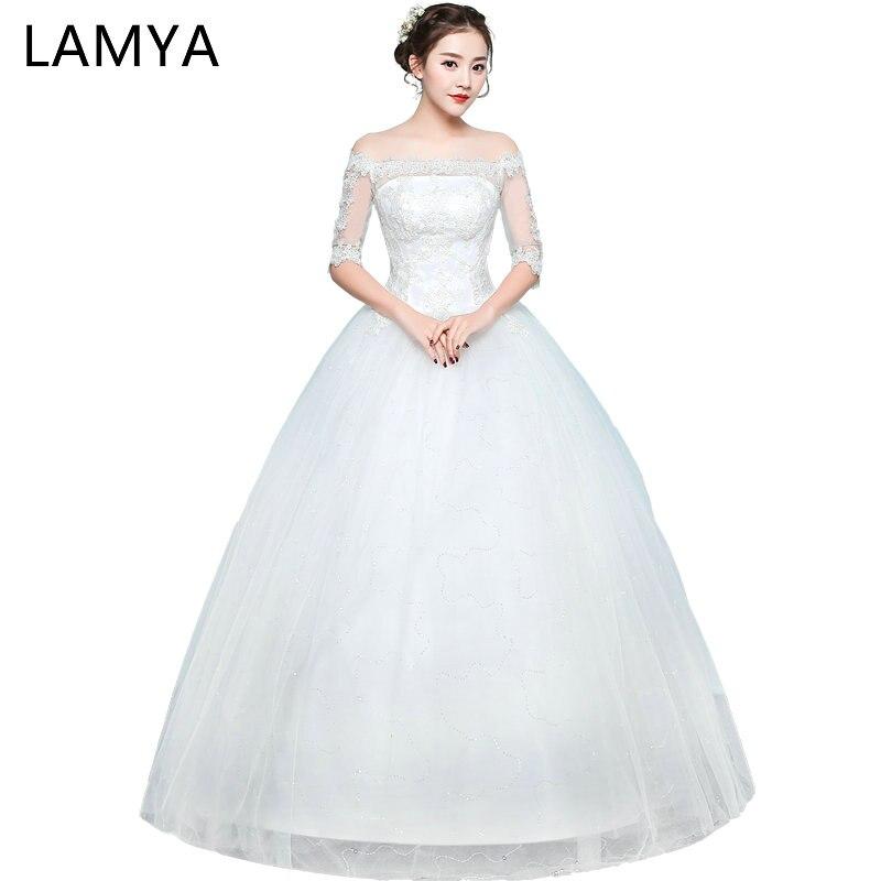 Simple And Elegant Wedding Dresses Boat Neck Three Quarter: LAMYA Elegant Simple Bridal Gown Lace Boat Neck Wedding
