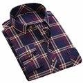 Tengo Primavera Marca Outono dos homens Algodão Casual Camisa Dos Homens Aquecer Mais Grosso Malha Xadrez Masculino Longo-sleeved Camisa Mais tamanho 14 cores