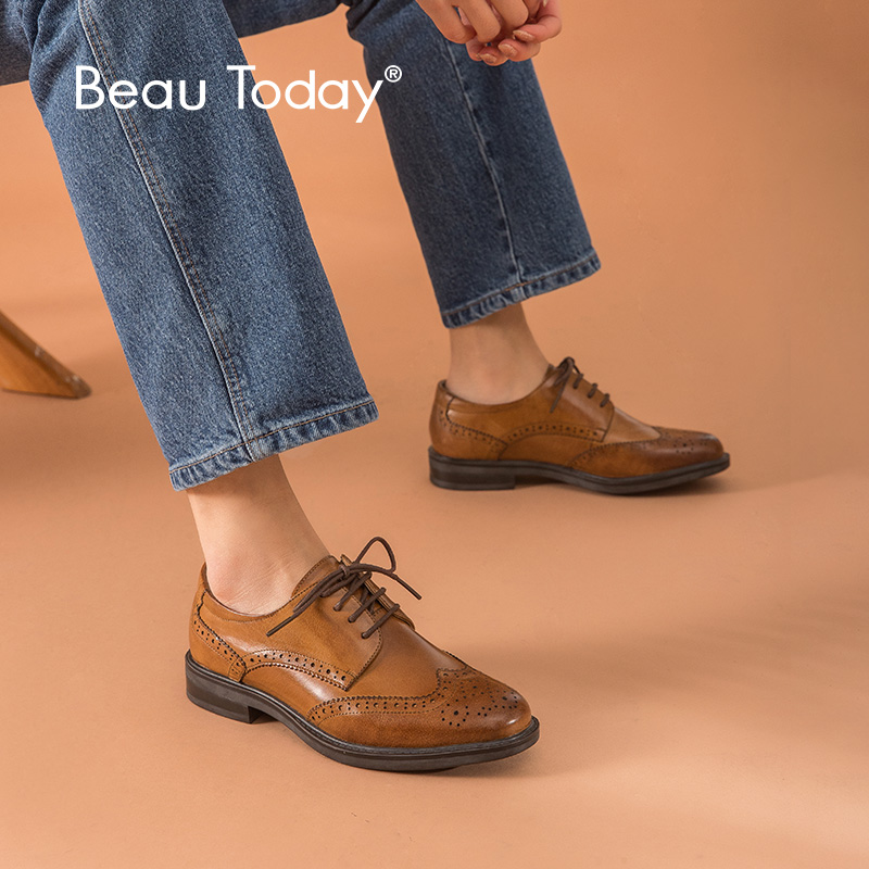 BeauToday Brogue Shoes Women Oxfords Lace Up Genuine Cow Leather Handmade Wingtip Round Toe Flat Female Dress Shoes 2108626