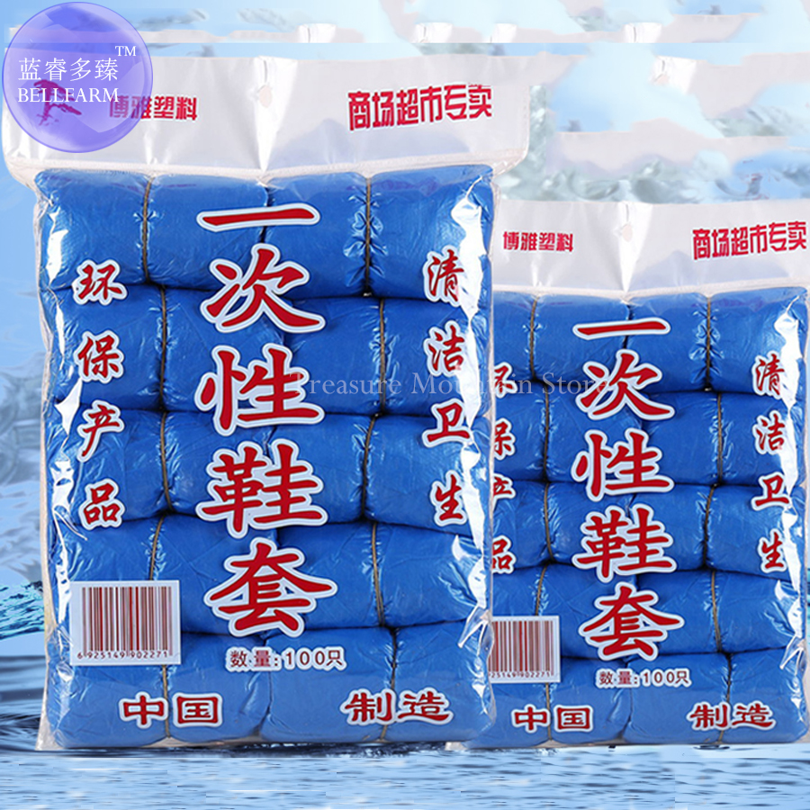 100 Pcs (50 Pairs) Disposable Shoe Covers Home Household Articles Environmentally Friendly Waterproof Non-slip Odor-proof Galosh
