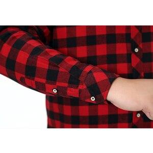 Image 5 - בחור שמן בתוספת גודל 5XL 6XL 7XL 8XL 100% מלא כותנה משובץ עסקי מזדמן חולצת גברים ארוך שרוולים פלנל גבוהה איכות אופנה