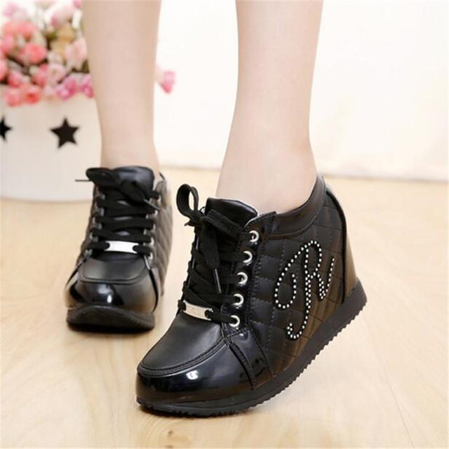 Hot Sales New 2017 Autumn Black White Hidden Wedge Heels Casual Shoes Women's Elevator High-heels boots For Women Rhinestone