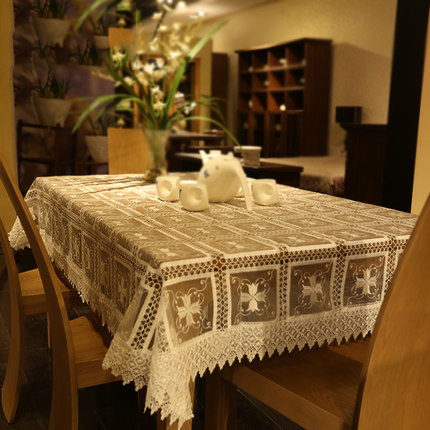 lace hollow white table cloths cover set household items for the kitchen linen rectangular dustproof table