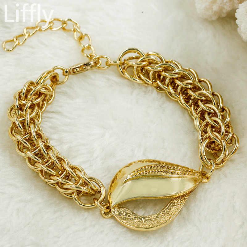 Liffly свадебные комплекты украшений для женщин Дубай комплект ювелирных украшений золотистого цвета ожерелье серьги модный набор украшений оптом