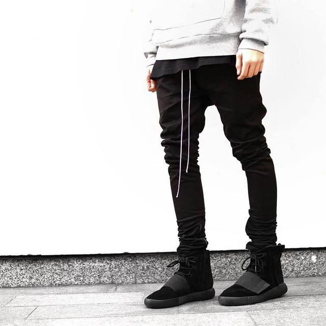 Streetwear Harem Pants Men Draw String Elastic Waist Hip Hop Pants Leg Opening Zipper Male Trousers kanye  justin bieber pants