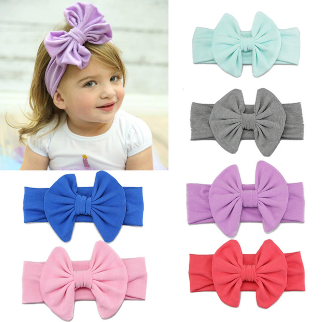 2019 Cute Baby Apparel Accessories Headwear Headband Kids Rabbit Ears Elastic Solid Color Bowknot Hair Bands Accessories