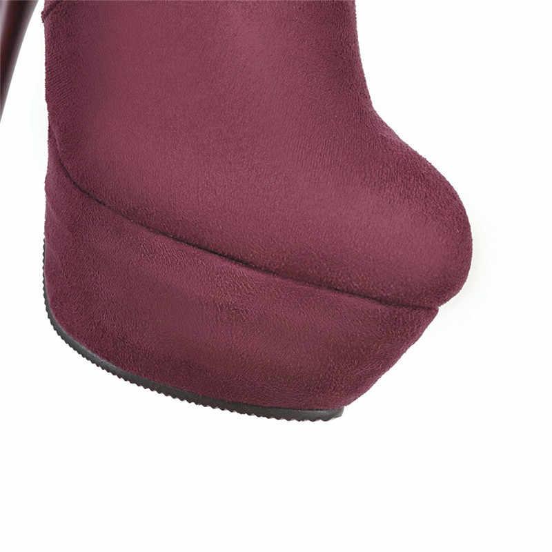 MEMUNIA 2020 büyük boy 43 diz çizmeler üzerinde kadın sonbahar yüksek topuk platformu çizmeler seksi ince kış ayakkabı kadın uzun çizmeler